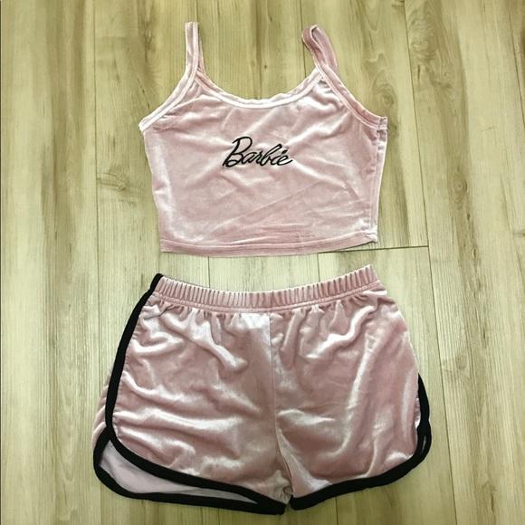 08b2b18dc2 SHEIN Intimates & Sleepwear | Barbie Velvet Pajamas | Poshmark